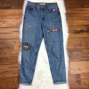 Topshop Moto Mom Jeans Embroidered Patches